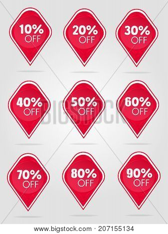 Special offer sale red tag isolated vector illustration. Discount offer price label, symbol for advertising campaign in retail, sale promo marketing, 50 percent off discount sticker, ad offer on shopping day. Sale icons. Sale tags. 10 percent off discount