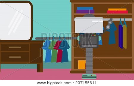 Domestic Robot hanging clothes on hangers in a closet. Personal robot housekeeping futuristic concept illustration vector.