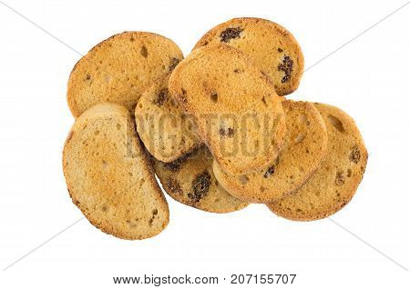 Heap Of Small Rusks With Raisin Isolated On White Background