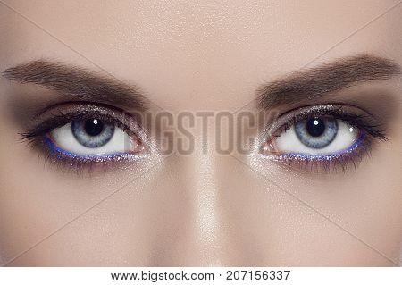 The Macro Photo Of Blue Female Eyes With A Fashionable Make-up, Long Eyelashes And Equal Dense Eyebr