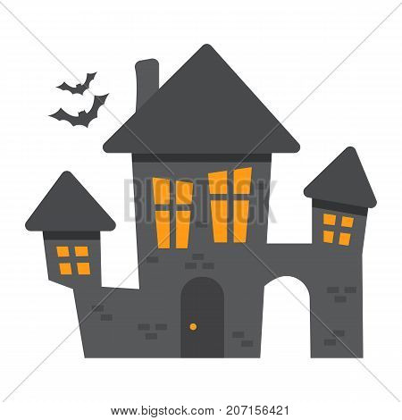 Scary House flat icon, halloween and scary, creepy home sign vector graphics, a colorful solid pattern on a white background, eps 10.