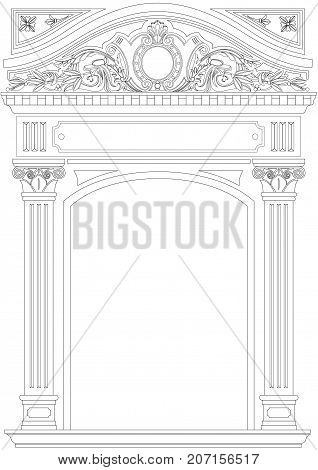Contouring coloring of classical arch. Classic antique portal with columns in vector graphics