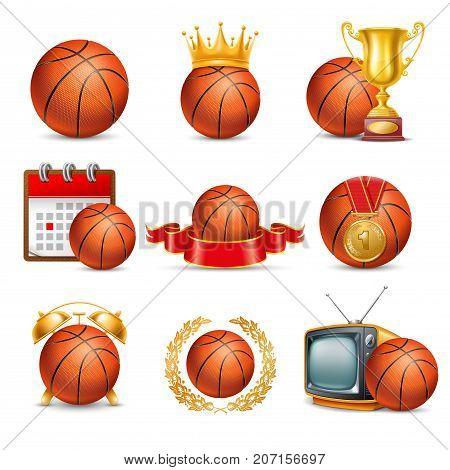 Basketball Ball icon set. Isolated on White Background. Vector Illustration