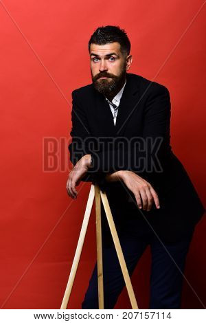 Masculinity And Style Concept. Man With Beard And Moustache
