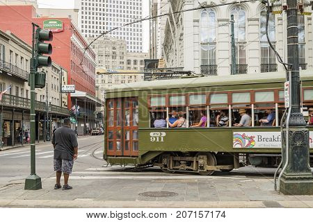 NEW ORLEANS USA - OCTOBER 17: New Orleans Streetcar Line on October 17 2016. Newly revamped after Hurricane Katrina in 2005 the New Orleans Streetcar line began electric operation in 1893.