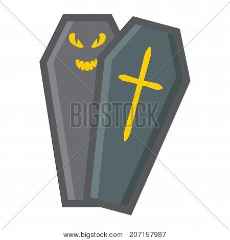 Halloween Coffin filled outline icon, halloween and scary, dead sign vector graphics, a colorful line pattern on a white background, eps 10.