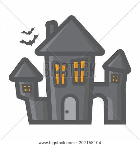 Scary House filled outline icon, halloween and scary, creepy home sign vector graphics, a colorful line pattern on a white background, eps 10.