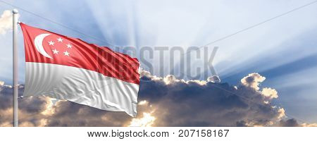 Singapore waving flag on blue sky. 3d illustration