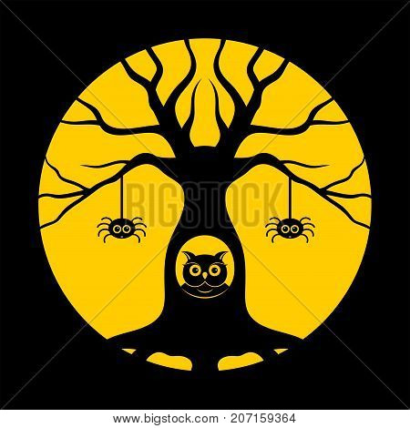 Halloween, gnarled tree, owl in the hollow. Icons or logos in modern line style. Vector illustration
