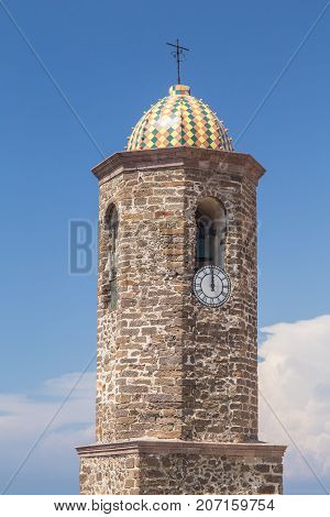 Bell tower of the Cattedral Antonio Abate in Castelsardo Sardinia poster