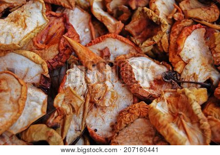 Variety of dried apple. Slices of dried apple. Rodajas de Manzanas secas.