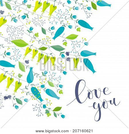 Flowers and herbs vector greeting card