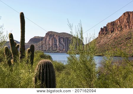Canyon Lake a popular boating and recreation destination east of Phoenix Arizona