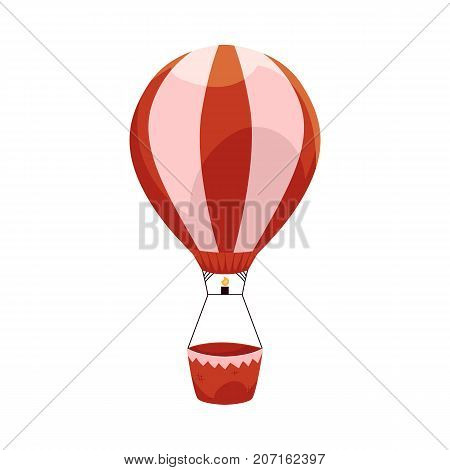 Hot air balloon ride in amusement park, side view vector illustration isolated on white background. Cartoon icon, illustration of hair balloon ride in amusement park, entertainment concept