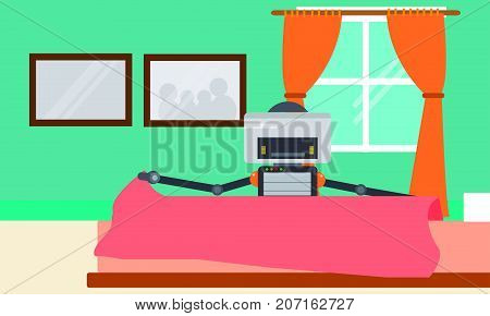 Domestic Robot changing bed linen in bedroom. Personal robot housekeeping futuristic concept illustration vector.