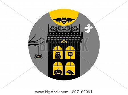 Halloween, house of horrors. Icon or logo in modern line style. Vector illustration