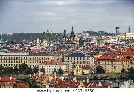 Panorama Of Prague Old Town With Red Roofs , Famous Charles Bridge And Vltava River, Czech Republic.