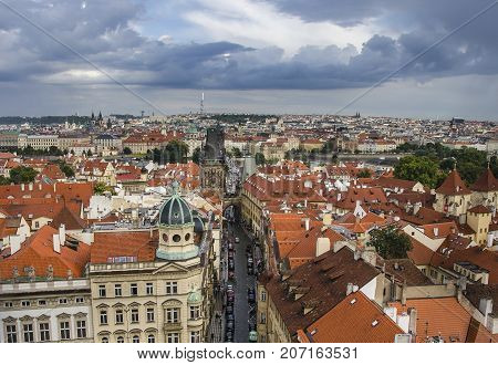 Panorama Of Prague Old Town With Red Roofs , Famous Charles View From Above