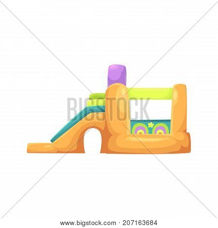 Inflatable bouncy castle in amusement park, side view vector illustration isolated on white background. Cartoon illustration of inflatable bouncy castle, amusement park or fairground entertainment