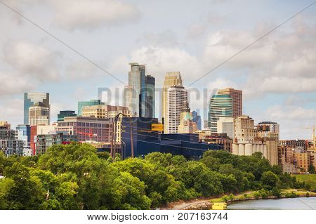 Downtown Minneapolis Minnesota with Mississippi river in the morning