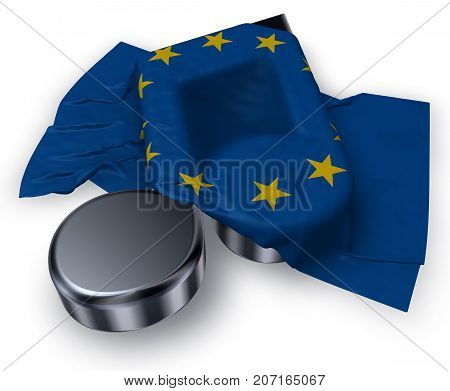 music note and flag of the european union - 3d rendering