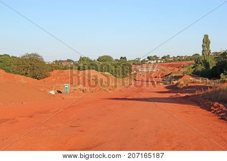 Earth foundations of a new road construction site