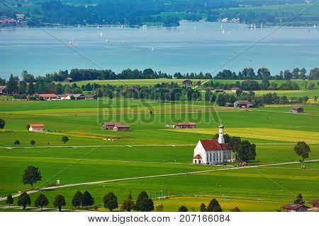 Aerial View of Hohenschwangau in Bavaria Germany