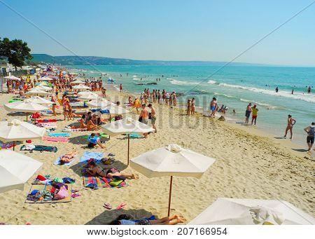 Kranevo Bulgaria - July 9 2017: Vacationers on the beach at summer season.