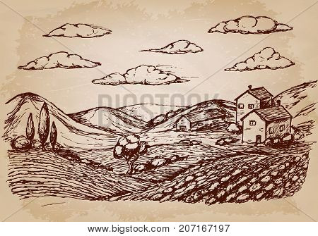 Hand drawn village houses sketch and nature. Vector illustration EPS10