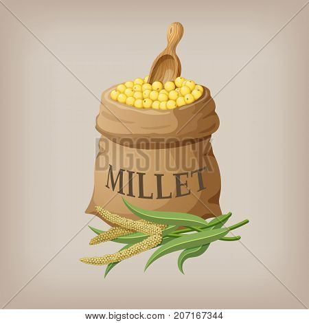 An image of raw yellow millets in a bag. Vector illustration EPS10