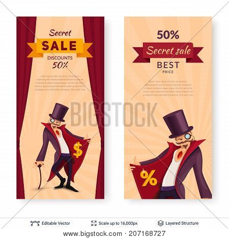Cartoon styled banners. Vector illustration easy to edit.