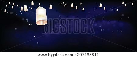 Thai people believed that misfortune will fly away with the lanterns and they like done all festival. Sometime belief this activities is sending souls to heaven. In vector file has split layer of background and object.