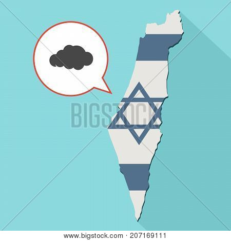 Illustration Of A Long Shadow Israel Map With Its Flag And A Comic Balloon With A Cloud