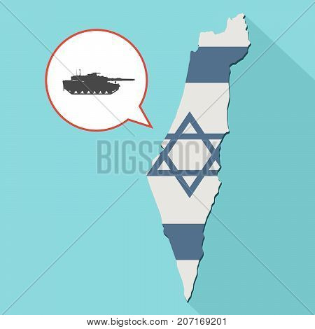 Illustration Of A Long Shadow Israel Map With Its Flag And A Comic Balloon With A Combat Tank