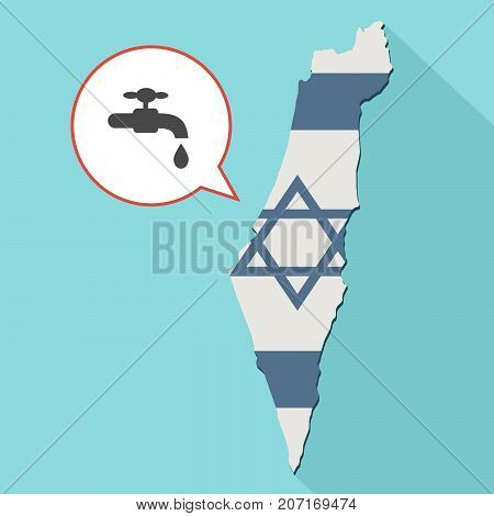 Illustration Of A Long Shadow Israel Map With Its Flag And A Comic Balloon With A Faucet