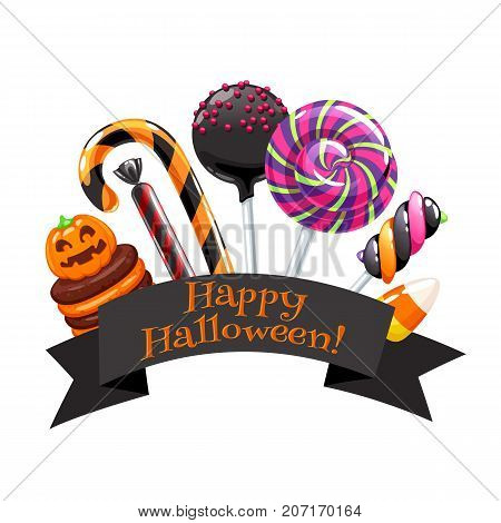 Halloween sweets colorful badge with greeting on black ribbon. Pumpkin cupcake, candy cane, lollipops and candy corn holiday design.