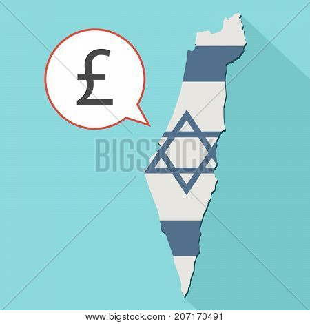 Illustration Of A Long Shadow Israel Map With Its Flag And A Comic Balloon With A Pound Sterling Sig