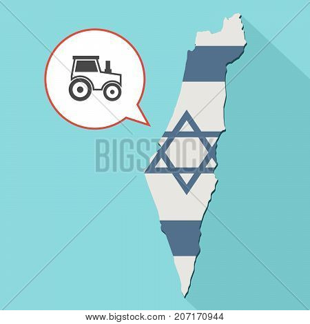Illustration Of A Long Shadow Israel Map With Its Flag And A Comic Balloon With A Tractor