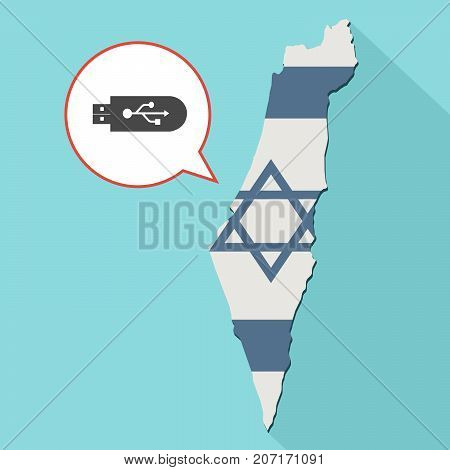 Illustration Of A Long Shadow Israel Map With Its Flag And A Comic Balloon With A Usb Flash Drive