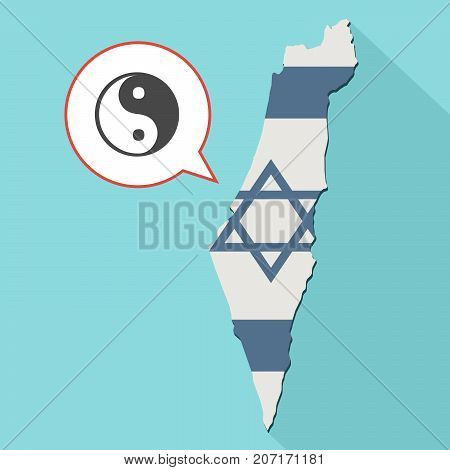 Illustration Of A Long Shadow Israel Map With Its Flag And A Comic Balloon With A Ying Yang