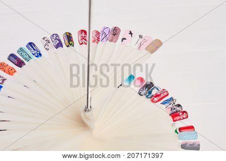 Manicure nail color design samples. Set of beautiful nails art samples. Nail art design set.