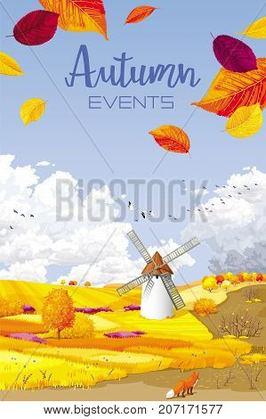 Autumn rural landscape vector banner with foliage fields and windmill for Harvest Festivals and fairs sales and other autumn events for prints greeting cards posters invitations.