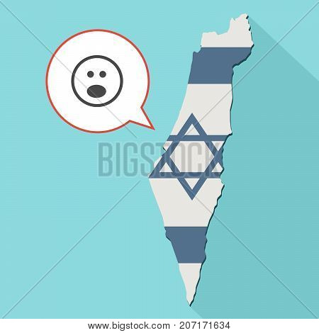 Illustration Of A Long Shadow Israel Map With Its Flag And A Comic Balloon With Suprise Emoji Face
