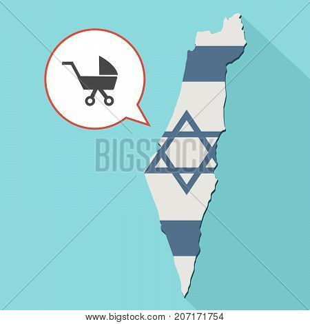 Illustration Of A Long Shadow Israel Map With Its Flag And A Comic Balloon With A Baby Carriage