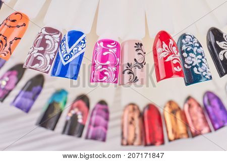 Nail art handmade samples. Design templates for beauty salon. Nail art sample tips.