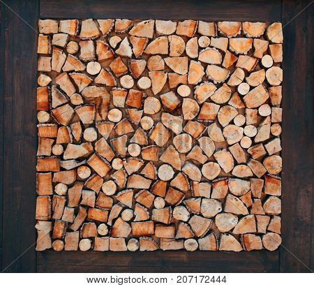 Wooden Natural Sawn A Logs Closeup, Texture Background, Top View