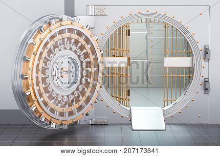 Open Bank Vault Door 3D rendering, banking concept