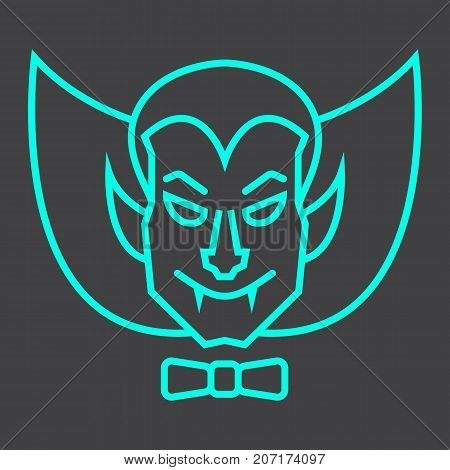 Dracula Vampire line icon, halloween and scary, horror sign vector graphics, a linear pattern on a black background, eps 10.