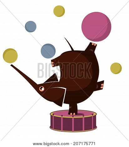 Cartoon elephant circus actor, juggler, acrobat, silhouette isolated. Cartoon elephant juggling with many balls