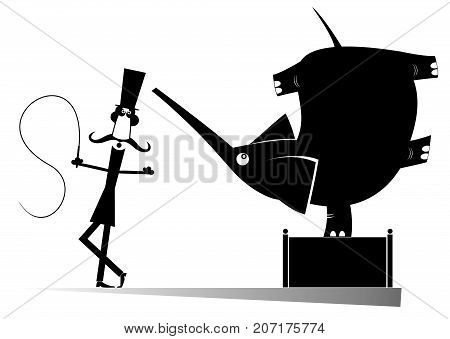 Cartoon tamer and elephant in the circus black original art silhouettes. Tamer and elephant in the circus black on white illustration isolated